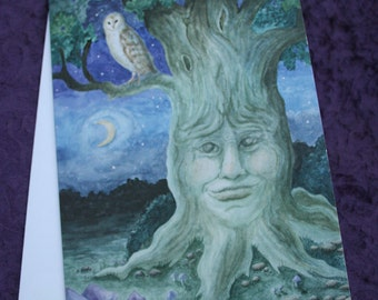 """Art Greeting Card, """"Night of the Forest Spirits"""", Card with Envelope, Original Watercolor Painting by Victoria Chapman"""