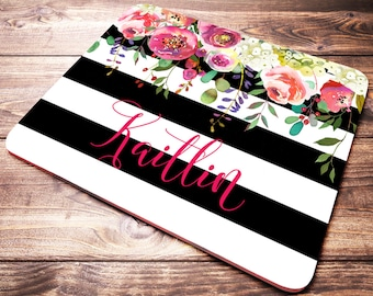 Personalized Mouse Pad, Monogram Mouse Pad, Striped Mouse Pad, Black and White, Custom Name Mouse Pad, Floral Mouse Pad, Name Mouse Pad