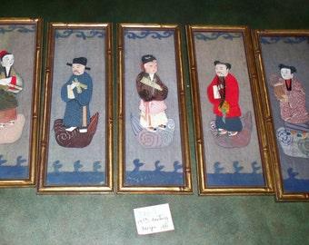 Antique set of five oshi-e panel figures framed in 1931