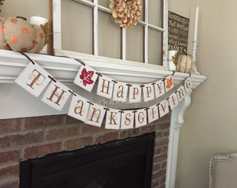 Happy Thankgiving Banner • Thanksgiving Decor • Thanksgiving Banner • Fall Banners • Fall Decor • Fall Decoration • Fall leaves • Fall Signs