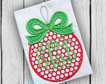 Monogram Ornament with Bow Digital Christmas Applique Design - Christmas - Holiday - Christmas Embroidery Design - Machine Embroidery