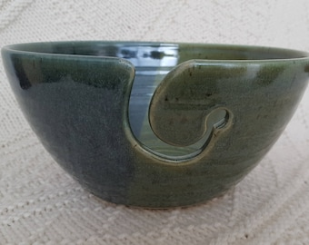 Slate and Mint Pottery Yarn or Knitting Bowl