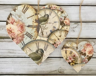 2 decoupaged wooden hanging hearts ~ vintage clocks floral bird print /Home Decor/hanging heart/birthday/shabby chic/wooden gift