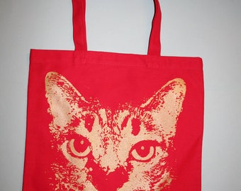red cat tote, holiday etsy, small business sat, holiday etsy, cat, red bag, red tote bag, silkscreened bag, screenprinted - Unisex
