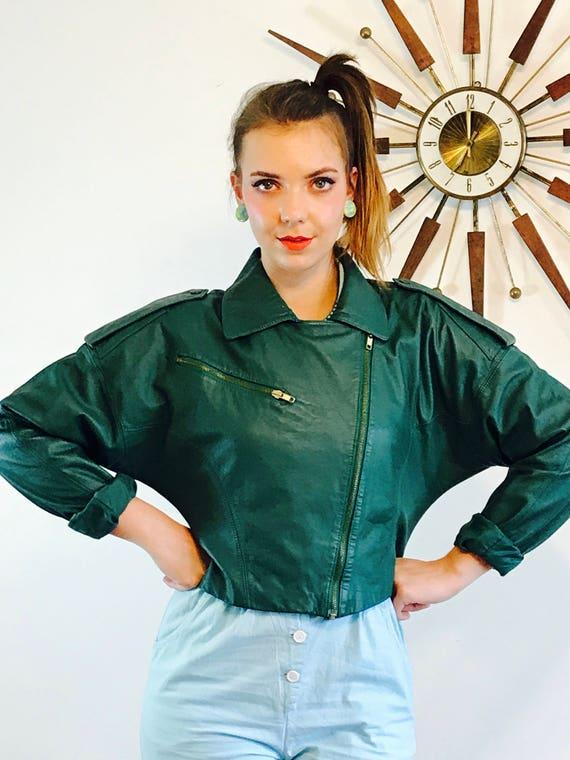Womens Biker Jacket, Cropped Green Jacket, Leather Motorcycle jacket, AVON Fashions, Ladies Moto Jacket, Vintage 80 jacket zipper, Size L XL
