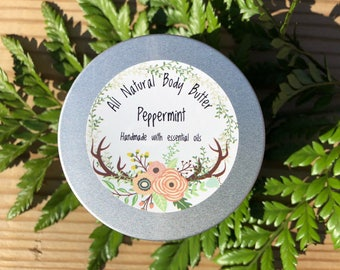 SALE Peppermint Body Butter • All Natural • Whipped