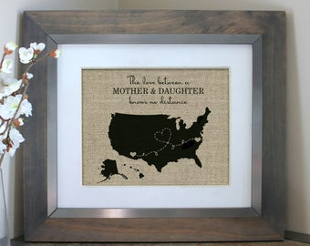 Mother Daughter Gift | Personalized Long Distance Mom Gift Idea | Mothers Day Map | Mothers Day Gift for Mom | Gifts for Mom From Daughter
