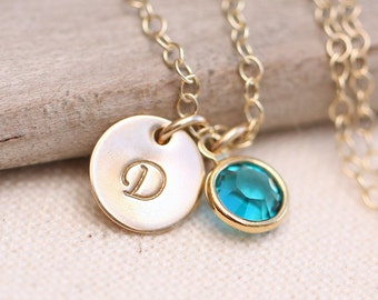 Personalized Necklace, Personalized Mother's Necklace, Personalized Mother's Gift, Stamped Initial, Gold Necklace, Birthstone, tiny initial