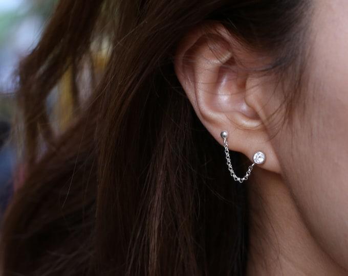 CZ diamond cartilage chain earring // Double ball Pierced Chain // CZ ball earrings for Double lobe pierced ears // Sterling silver  EE014