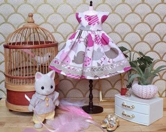 Birds Are Singing Pink and Grey Blythe Dress | Pullip Dress