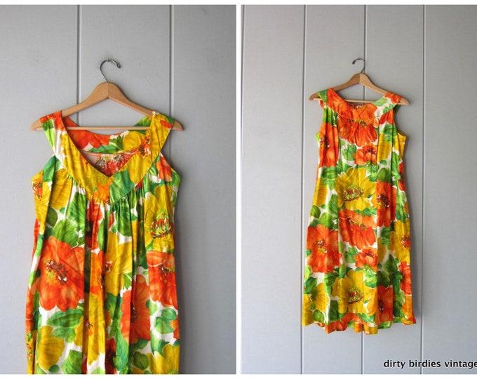 60s Floral Hawaiian Dress Vintage Orange Green Sun Dress Polynesian Midi Dress Retro 70s Cotton Resort Tiki Vintage Dress Womens Medium