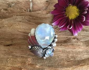 Rainbow Moonstone ring, Sterling Silver, Artisan Handmade, Southwestern Native American style, size 8