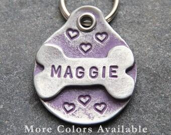 Custom Pet ID Tag - Dog ID Tag - Dog Tags - Pets Name Tag -  Handmade - Dog Bone - Collar Tag - Hearts