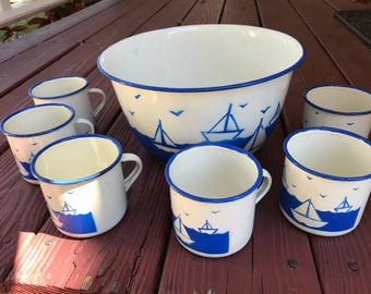 Enamelware nautical bowl and 6 mugs