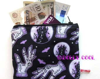 Haunted Castle Zipper Pouch by Dolly Cool Mystic Hands Halloween Horror B Movie Self Designed Fabric Occult Witch Dark Arts Bats