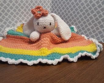 Rainbow Bunny Baby Security Blanket