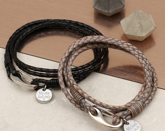 Personalised Leather Triple Wrap Bracelet (HBMB32 / 185)