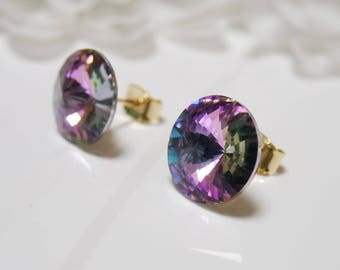 Captivating Sparkle Crystal Rivoli Stud Earrings, 12mm Gorgeous Crystal Earrings, Swarovski®, Sterling Silver Post