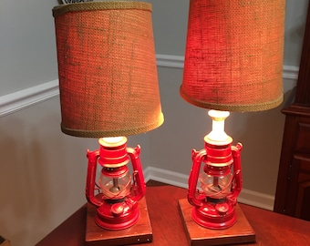 Pair of Authentic Winged Wheel No. 350 Lanterns Converted to Lamps