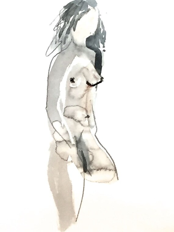 Nude painting of One minute pose 114.8 - Original watercolor painting by Gretchen Kelly