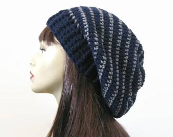 Crochet Slouchy Hat Blue Knit Beanie Navy Blue Striped Slouchy Hat Blue stripe Crochet women's hat Blue Crochet Hat Blue Beanie Knit Tam