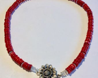Red turquoise necklace with sunflower clasp