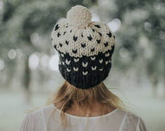 Pom Pom Ski Hat, Hand Knit Slouchy Hat, Fair Isle Hat, Hand Knit Slouchy Fair Isle Ombré Pom Hat / / THE GENEVA - Charcoal & Fisherman -