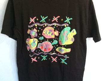 Black T-shirt with Fish and Sequins, Women's M, shoulder pads!