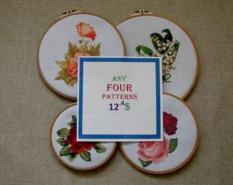 4 Patterns - Set of 4 Patterns - 12.4 Dollars USD - Modern cross stitch pattern PDF