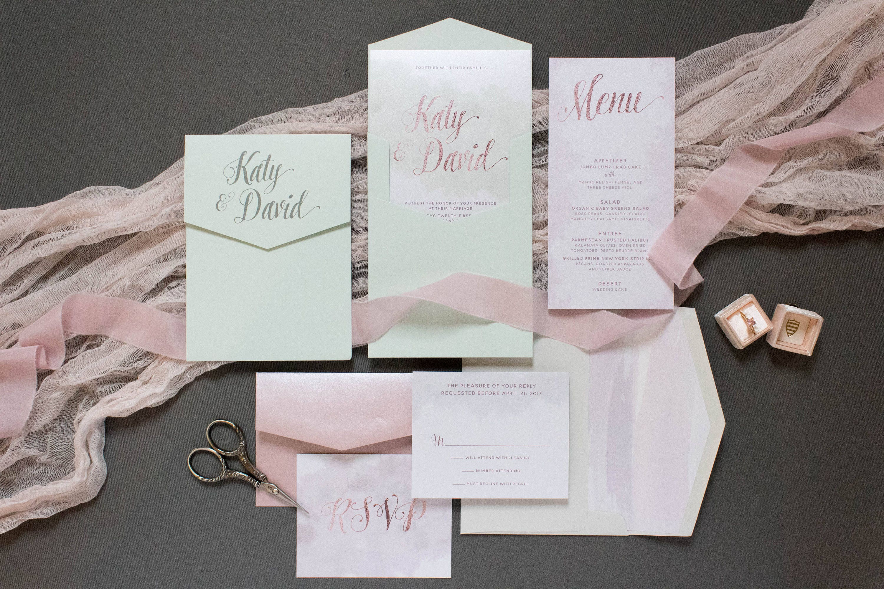 5x7 Grey, Blush Pink, Rose Gold and Mint Water Color Pocket Wedding ...