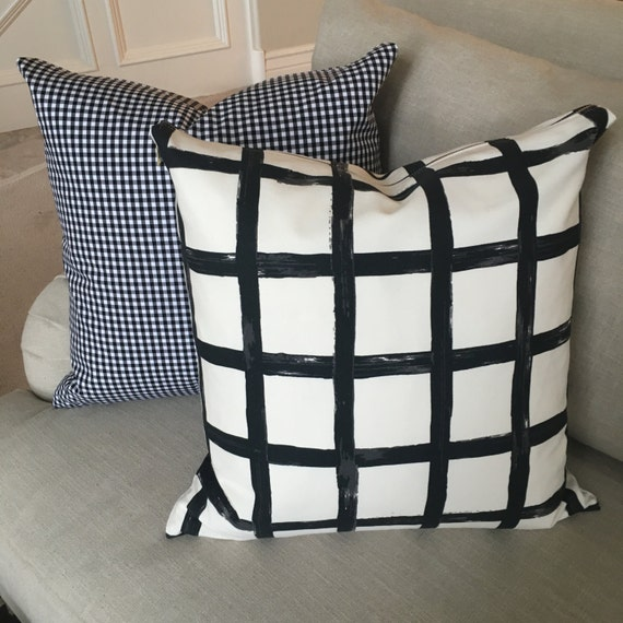 Windowpane Plaid Pillow Cover, Black and White Pillow Cover, Throw Pillow, Windowpane Print Linen, Plaid Pillow Cover, Check Print