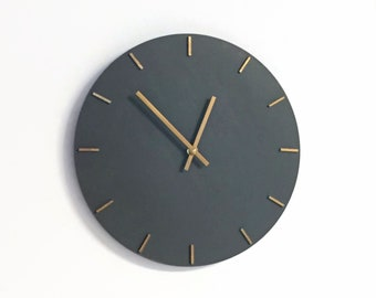 Large Modern Wall Clock, Gray and Gold Wall Art and Home Decor