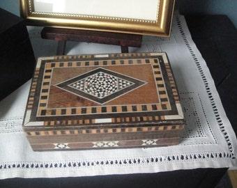 Vintage wooden mosaic lidded box