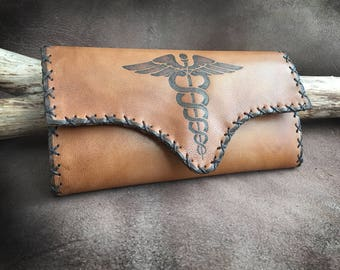 Leather Tobacco Pouch, Logo and Text, Personalized pouch, Doctor symbol, Pyrography on Leather, Portatabacco, Tabakbeutel, Handmade