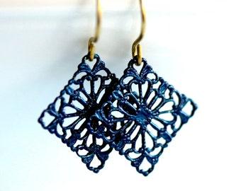 Navy Blue Earrings * Navy Earrings * Painted Earrings * Boho Earrings * Filigree Earrings * Navy Blue * Dark Blue Earrings...*Ravaged Trust*