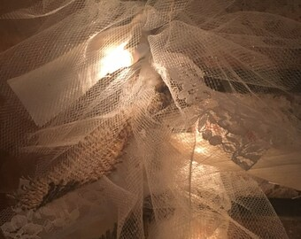 Lighted Hand Tied Garland with Lace, Burlap, Muslin, Tulle