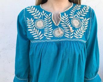 Beautiful Blue OR Pink Chiapas Handmade Blouse Ready to Ship