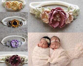 Newborn photo prop headbands // floral headband newborn // Nylon headbands // flower photo prop // boho flower hair piece // flower headband
