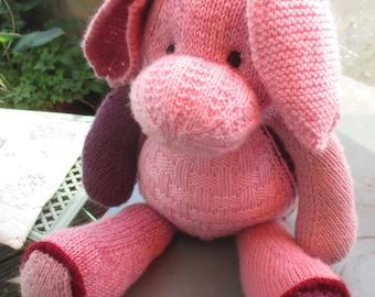 Dog/pig/bear mixed plushie, Stuffed animal, Plush toy knitted, Stuffed animal knitted, Soft toy, cuddly pink/purple/burgondy-red toy