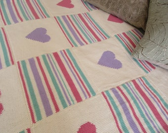 Hearts and Stripes Throw Pattern