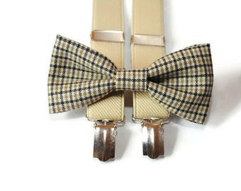 tan checkered bow tie & beige suspenders groom suspenders kids suspenders baby suspenders men's suspenders toddler suspenders
