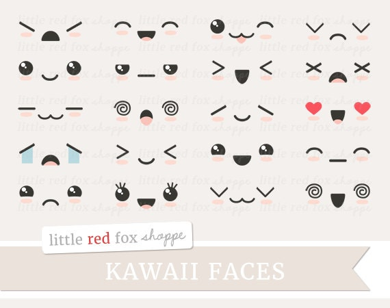 Kawaii face clipart cute faces clip art expression happy sad - Emoticone kawaii ...
