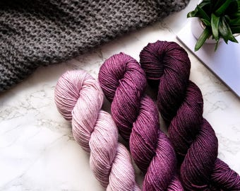 Gradient Yarn Set | Silk Merino Wool Yarn | Crochet | Hand Dyed Yarn | Knitting Yarn | Weaving | Handmade | PREORDER - Bordeaux