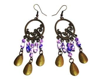 Purple Chandelier Earrings,Chandelier Earrings,Purple Earrings,Round Chandelier Earrings,Round Brass Earrings
