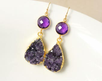 50% OFF SALE - Gold Purple Amethyst Geode Earrings - Teardrop Earrings - Amethyst Quartz
