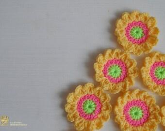 Colorful flowers. Assorted Crochet Flower Appliques. Set of 13 Assorted Flower Appliques. Crochet flowers applique 13 PCS. Handmade