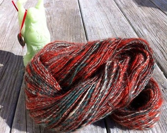 Handspun Wool Yarn - Merry Christmas, Red, Green, White, DK, Worsted, Art Yarn, Knit, Crochet, Weave, Felt, Holiday Yarn