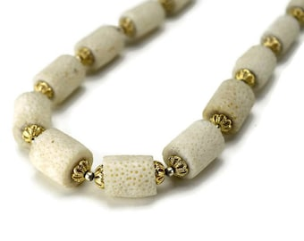 Vintage Untreated White Sponge Coral Bead Necklace, Raw Coral Barrel Beaded Necklace