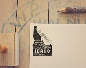 Idaho Return Address State Stamp, Personalized Rubber Stamp