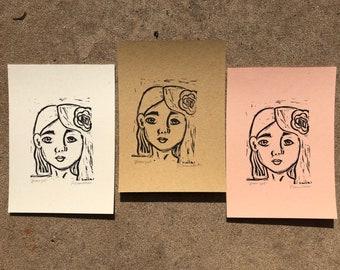 Flower Girl - Original Block Print